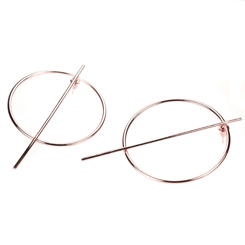 Beautiful Classic Endless Hoop Solid Rose Gold Earrings By Jewelry Lane