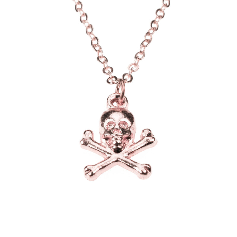 Classic Skull Crossbone Danger Sign Solid Rose Gold Pendant By Jewelry Lane