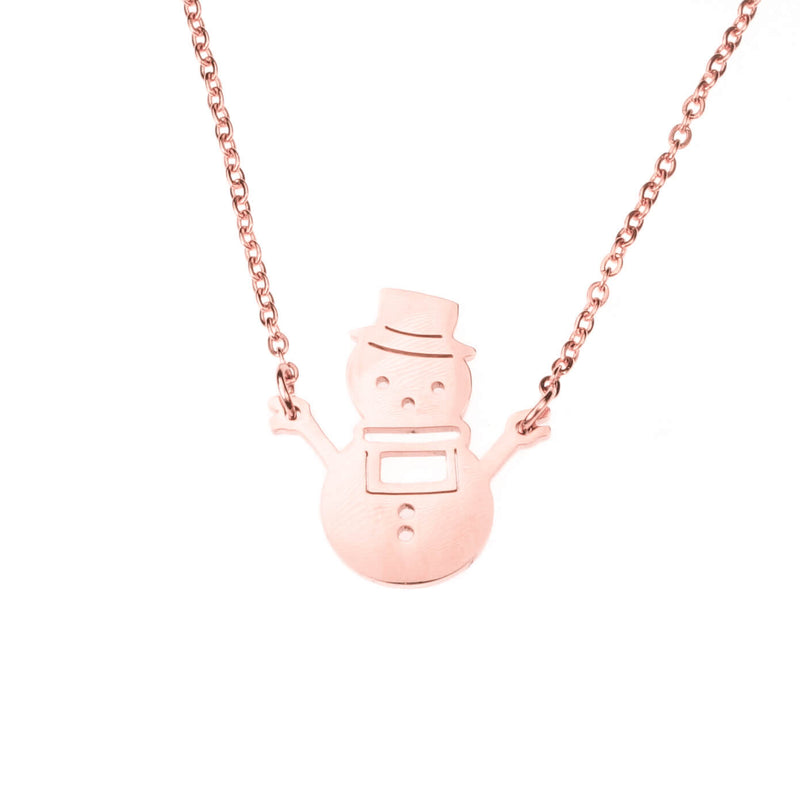 Beautiful Charming Snowman Solid Rose Gold Necklace By Jewelry Lane