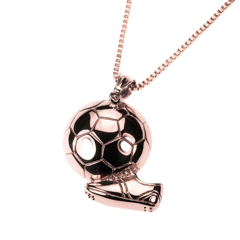 Exquisite Sporty Soccer Ball Design Solid Rose Gold Pendant By Jewelry Lane