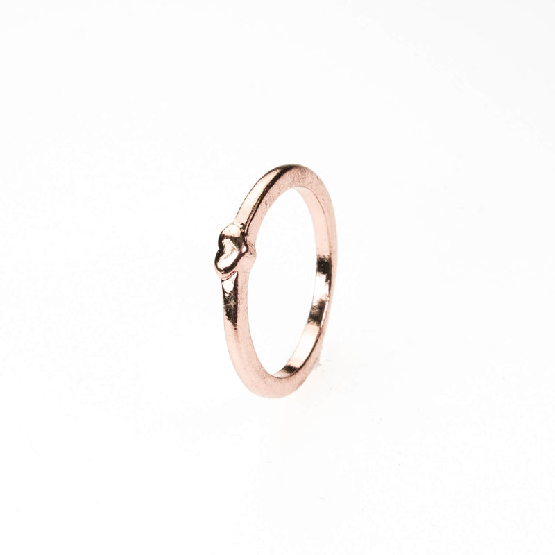 Simple Elegance Heart Stacker Solid Rose Gold Ring By Jewelry Lane