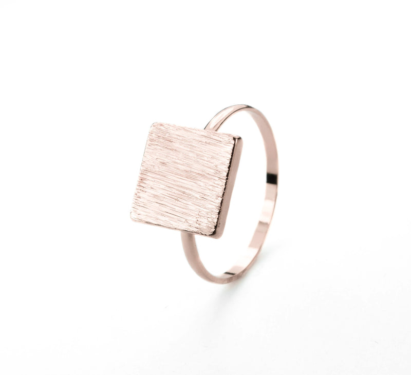 Elegant Plain Square Plate Stacker Solid Rose Gold Ring By Jewelry Lane