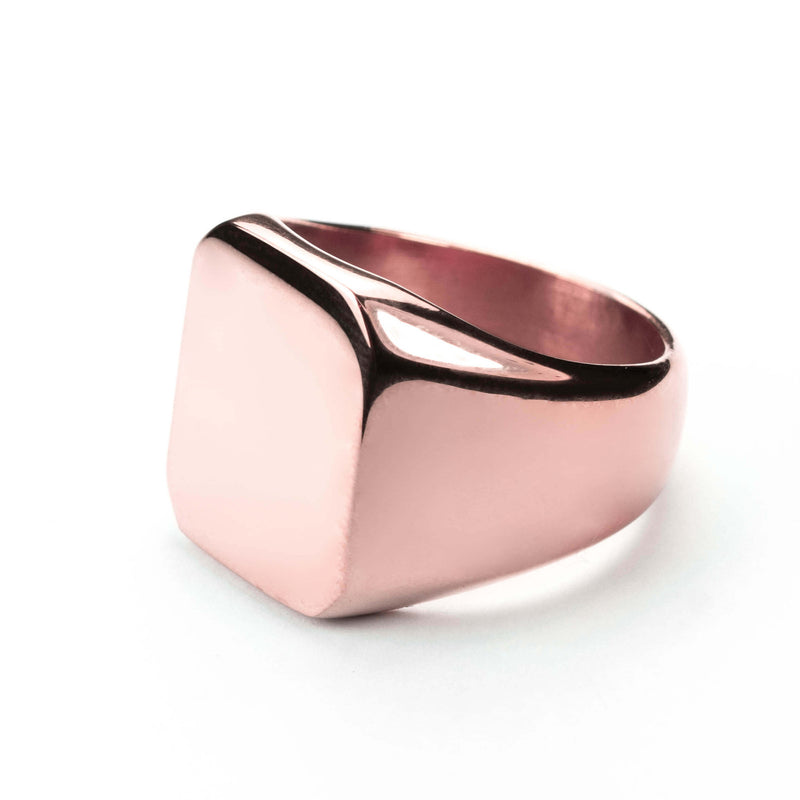 Square Statement Signet Solid Rose Gold Ring By Jewelry Lane