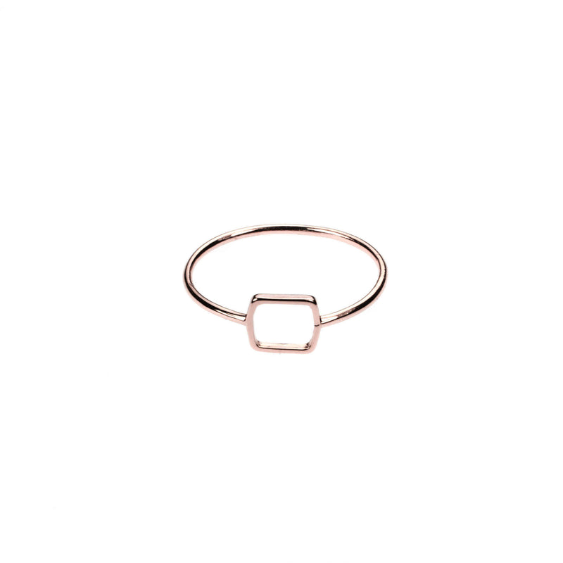 Simple Elegant Square Stacker Solid Rose Gold Ring By Jewelry Lane