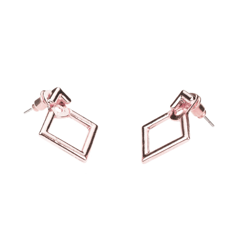 Simple Charming Square Stud Solid Rose Gold Earrings By Jewelry Lane