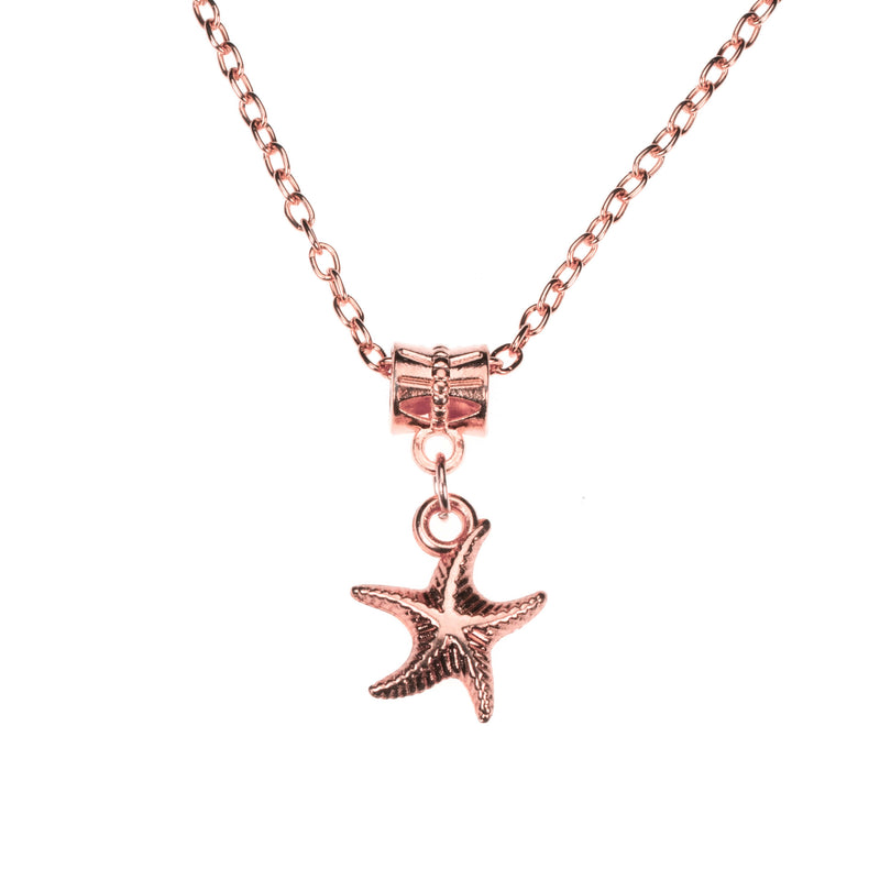 Simple Charming Dangling StarFish Design Solid Rose Gold Pendant By Jewelry Lane