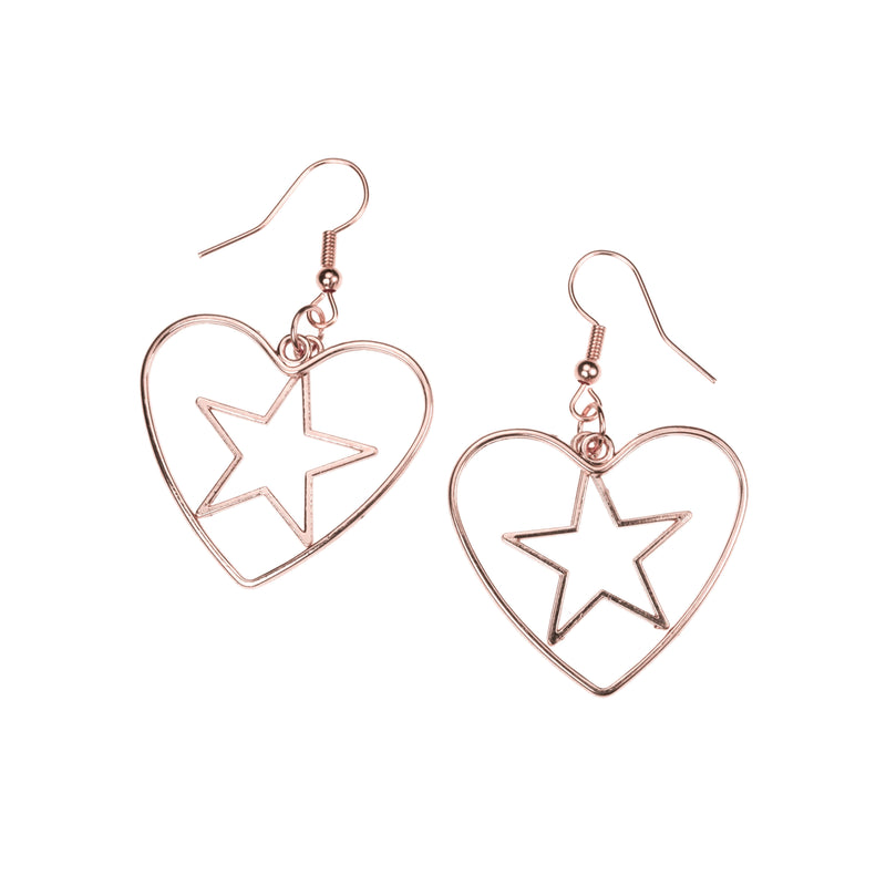 Beautiful Classic Star In Heart Drop Solid Rose Gold Earrings By Jewelry Lane