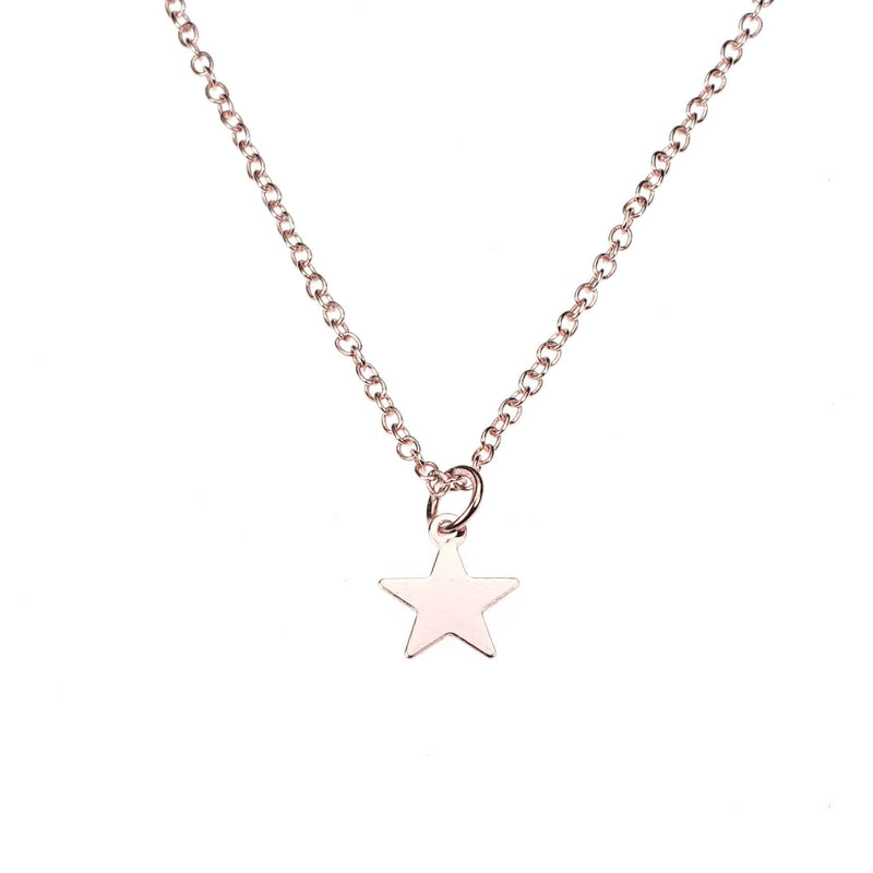 Beautiful Simple Lightweight Star Design Solid Rose Gold Pendant By Jewelry Lane