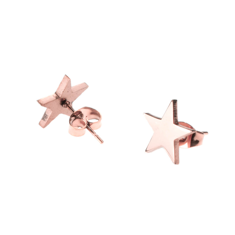 Beautiful Charming Star Stud Solid Rose Gold Earrings By Jewelry Lane