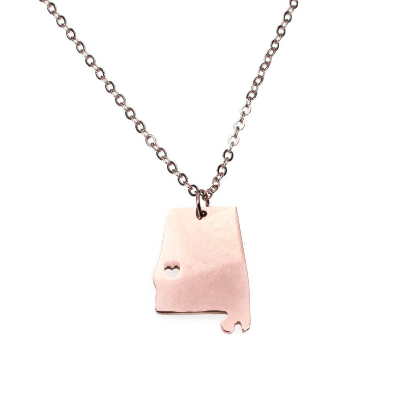 Elegant Simple Mississippi State Map Solid Rose Gold Pendant By Jewelry Lane