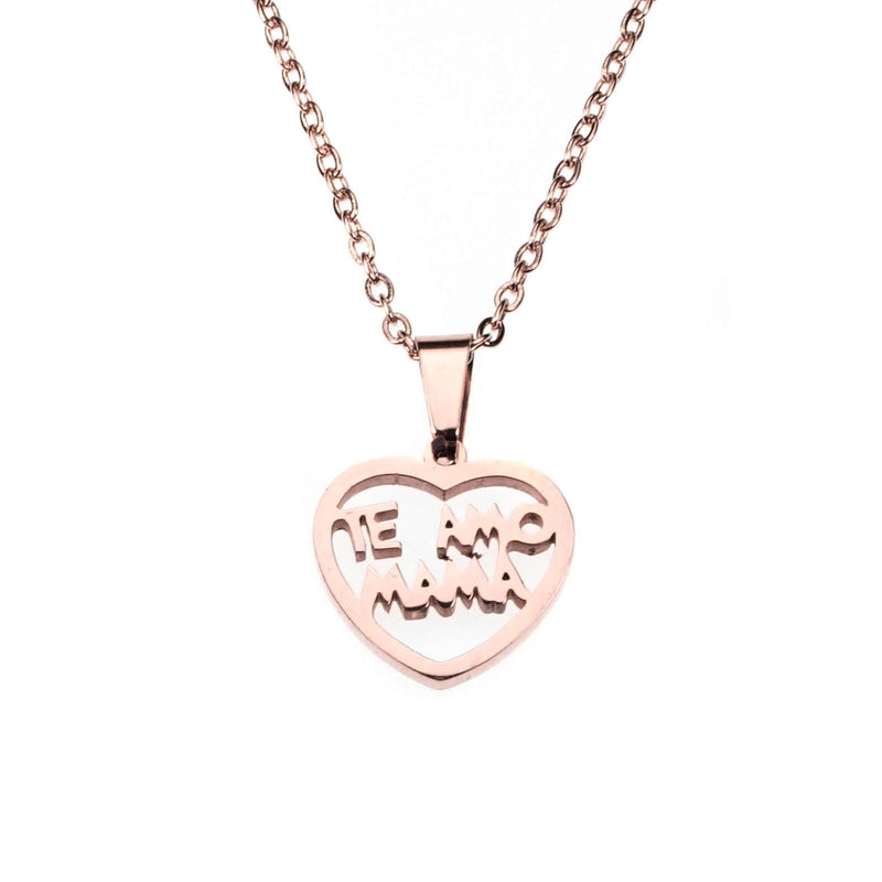 Beautiful Simple Expressive Te Amo Mama Solid Rose Gold Pendant By Jewelry Lane