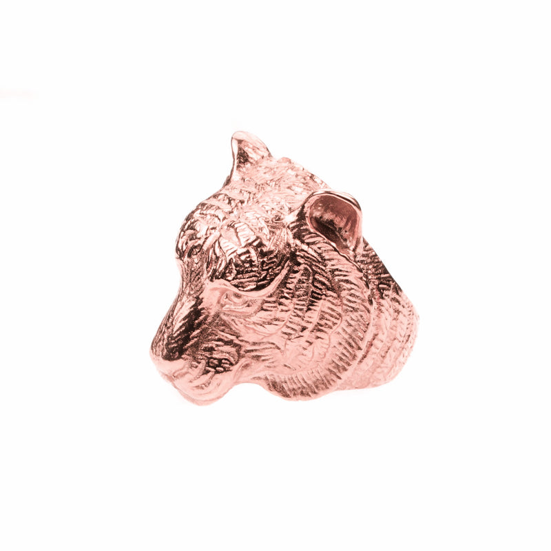 Beautiful Modern Tiger Face Solid Rose Gold Ring By Jewelry Lane