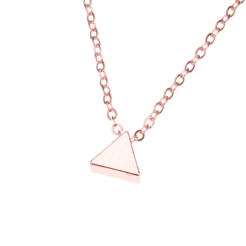 Elegant Simple Triangle Solid Rose Gold Necklace By Jewelry Lane