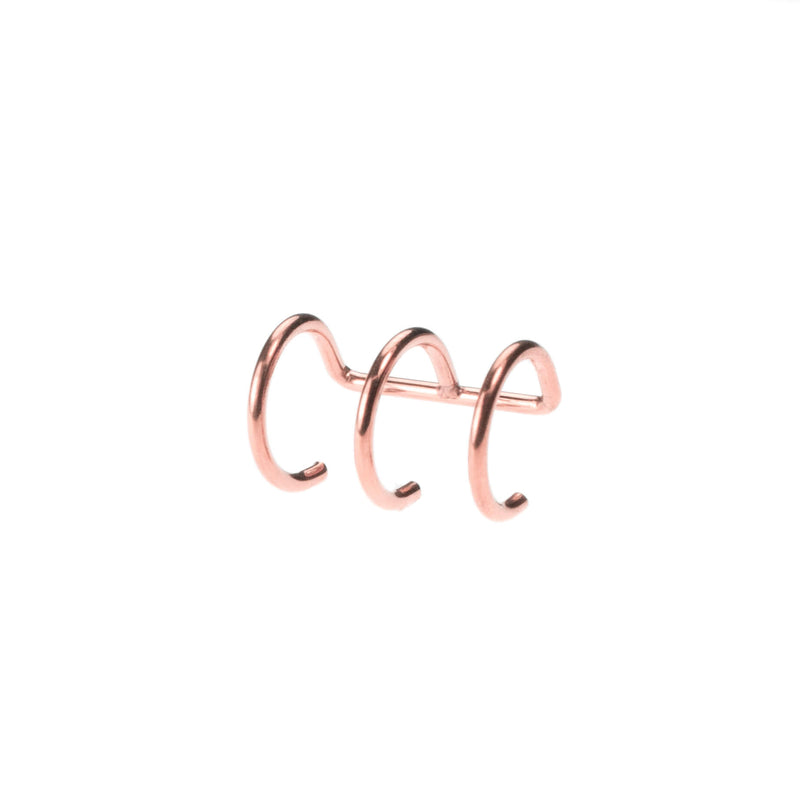 Stylish Unique Triple Hoop Solid Rose Gold Cuff Earrings By Jewelry Lane