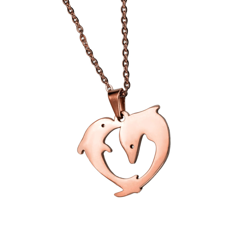 Elegant Twin Dolphin Heart Solid Rose Gold Pendant By Jewelry Lane