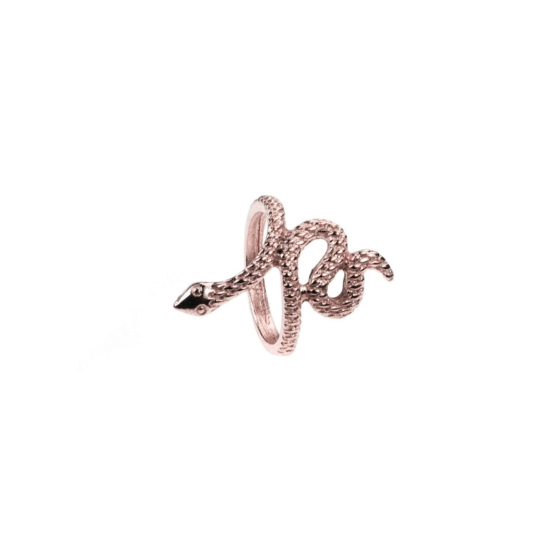 Charming Unique Snake Design Solid Rose  Gold Ring By Jewelry Lane