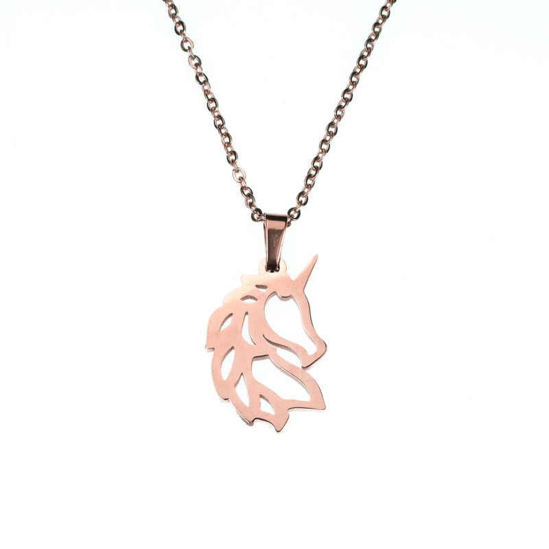 Beautiful Charming Rare Unicorn Solid Rose Gold Necklace By Jewelry Lane