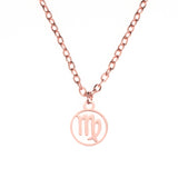Charming Zodiac Virgo Minimalist Solid Rose Gold Pendant By Jewelry Lane