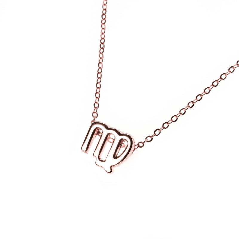 Beautiful Design Zodiac Chic Virgo Solid Rose Gold Pendant By Jewelry Lane