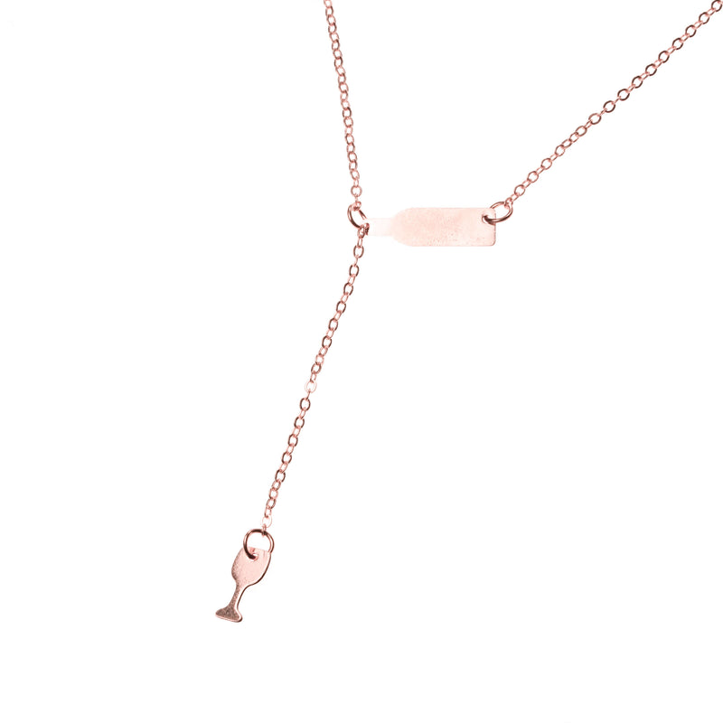 Beautiful Elongated Wine Drop Solid Rose Gold Necklace By Jewelry Lane