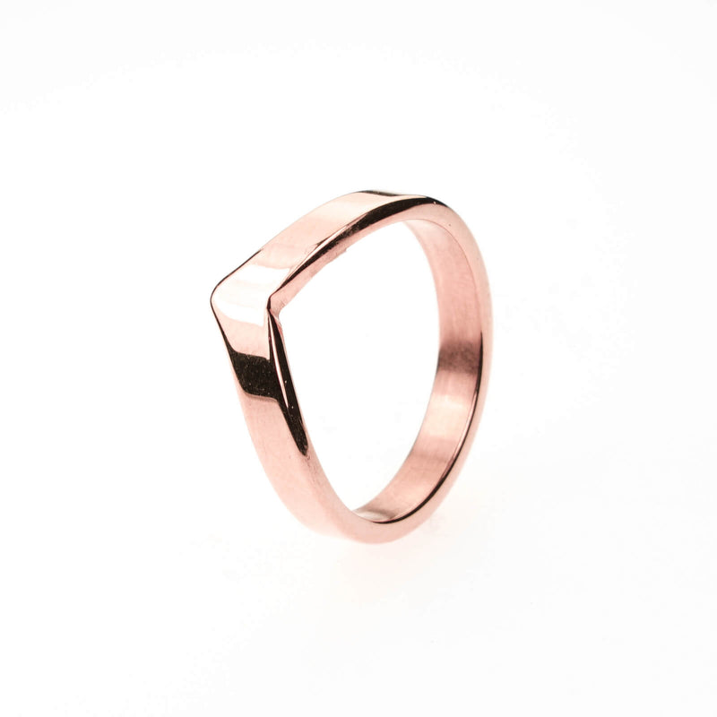 Beautiful Unique Wishbone Design Solid Rose Gold Ring By Jewelry Lane