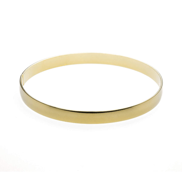 Beautiful Timeless Polished Solid Gold Bangle by Jewelry Lane