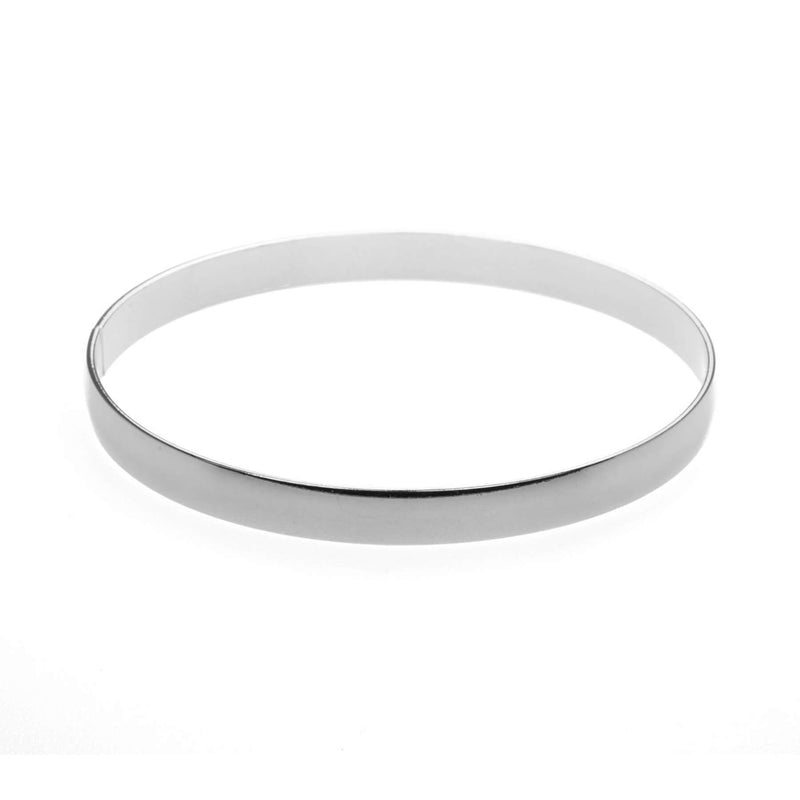 Beautiful Timeless Polished Solid White Gold Bangle by Jewelry Lane