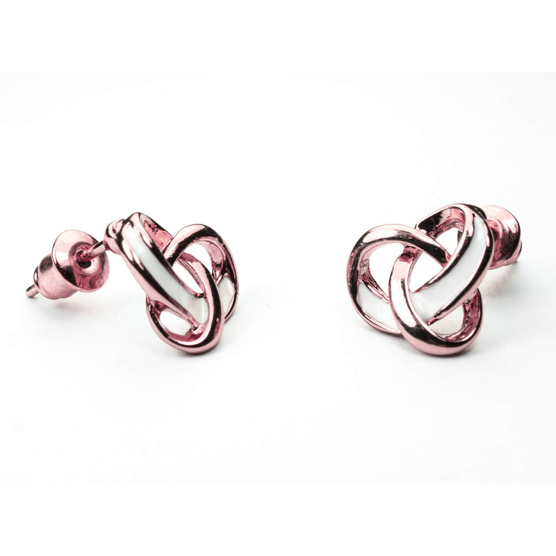 Beautiful Trefoil Loop Knot Earrings in Solid Rose Gold by Jewelry Lane