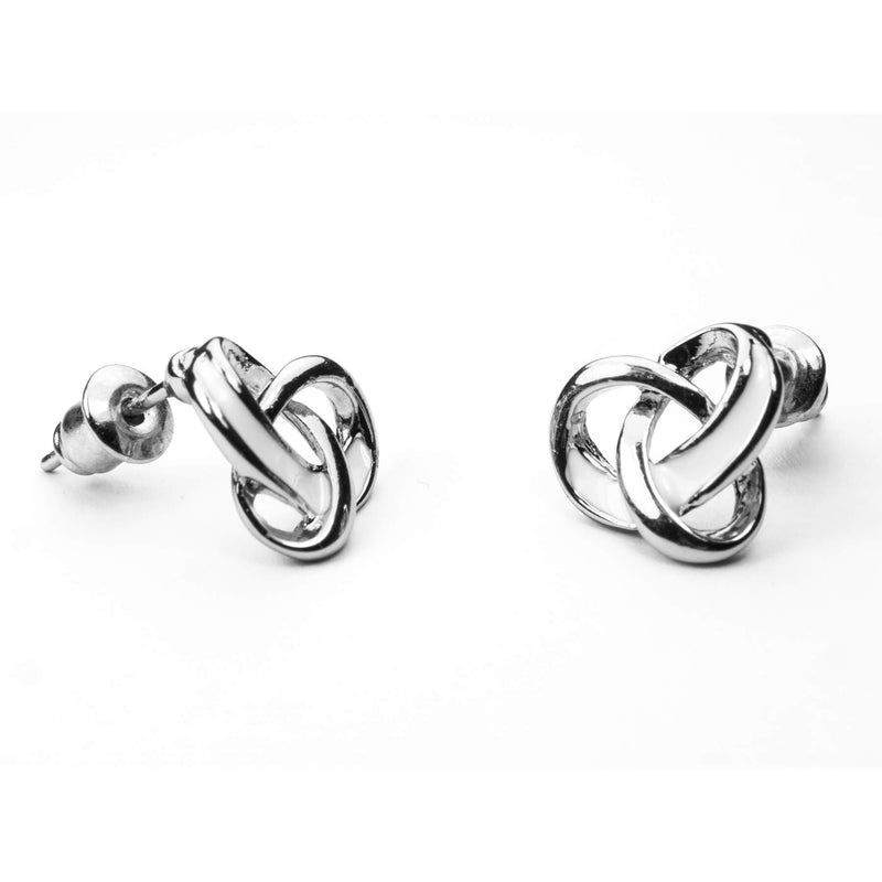 Beautiful Trefoil Loop Knot Earrings in Solid White Gold by Jewelry Lane