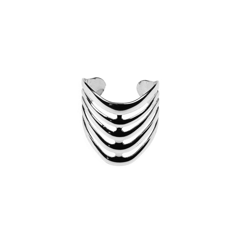 Beautiful Elegant Chevron Cuff Solid White Gold Ring BY Jewelry Lane