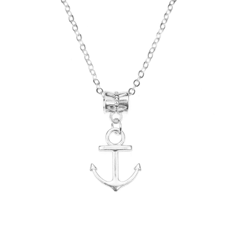 Beautiful Classic Dangling Anchor Solid White Gold Pendant By Jewelry ane