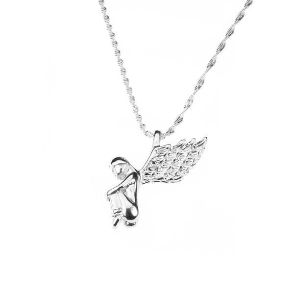 Beautiful Charming Angel Solid White Gold Pendant By Jewelry Lane