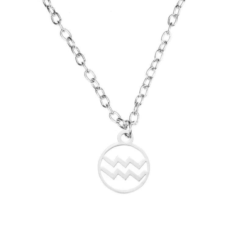 Charming Zodiac Aquarius Minimalist Solid White Gold Pendant By Jewelry Lane