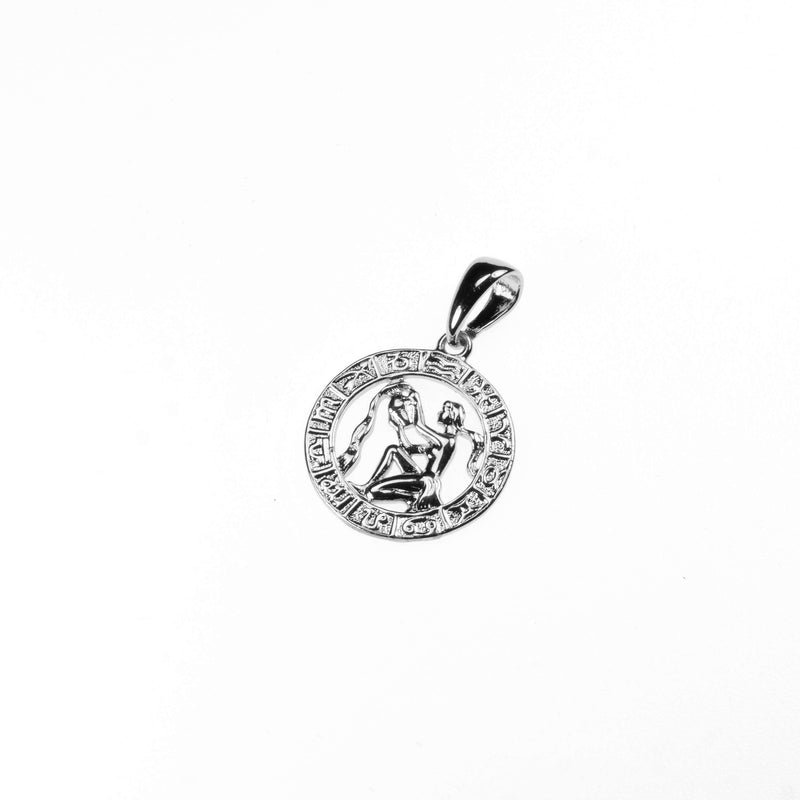 Beautiful Zodiac Aquarius Solid White Gold Pendant By Jewelry Lane