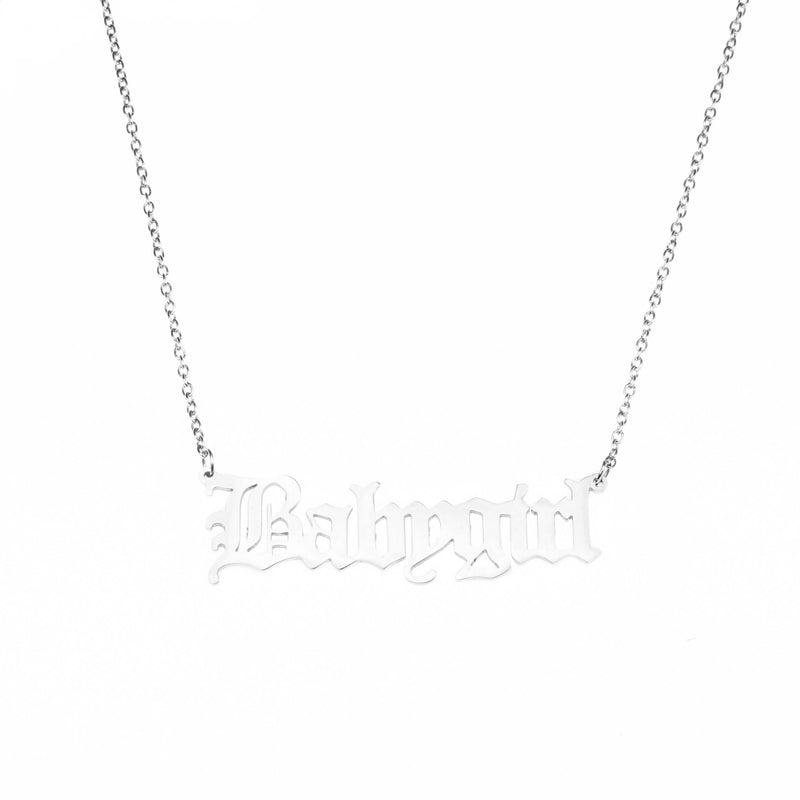 Beautiful Charming Letter Baby Girl Solid White Gold Pendant By Jewelry Lane