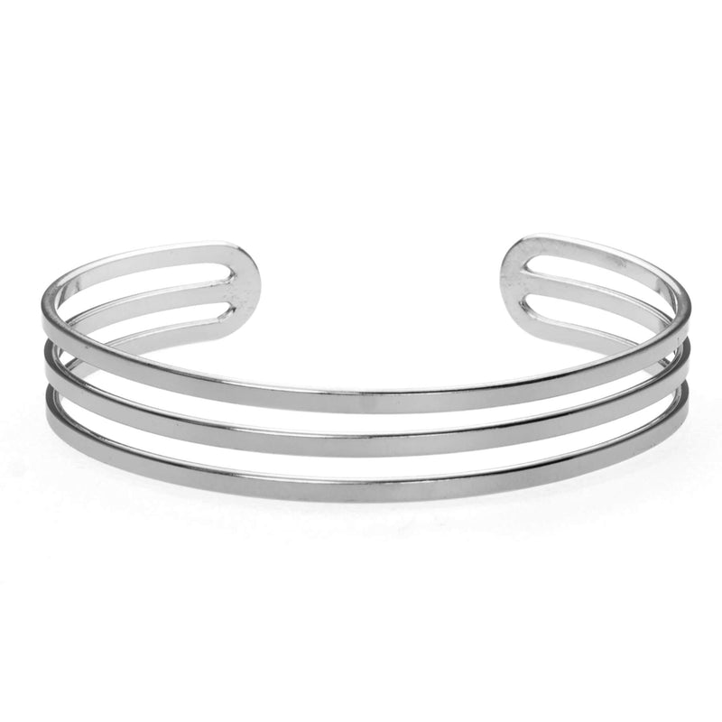 Three Ring Solid White Gold Cuff Bangle by Jewelry Lane