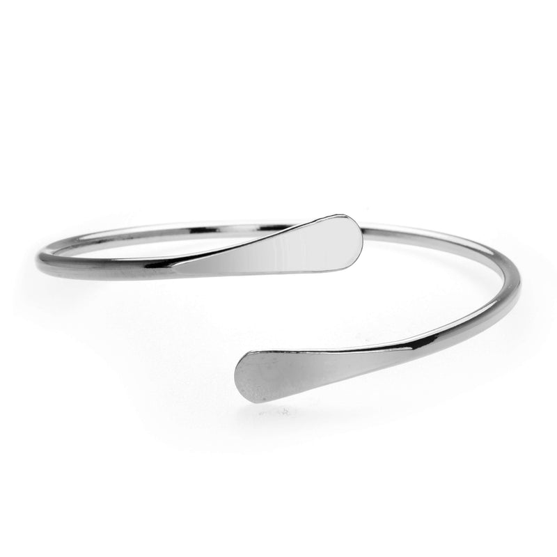 Solid White Gold Open Cuff Bangle by Jewelry Lane