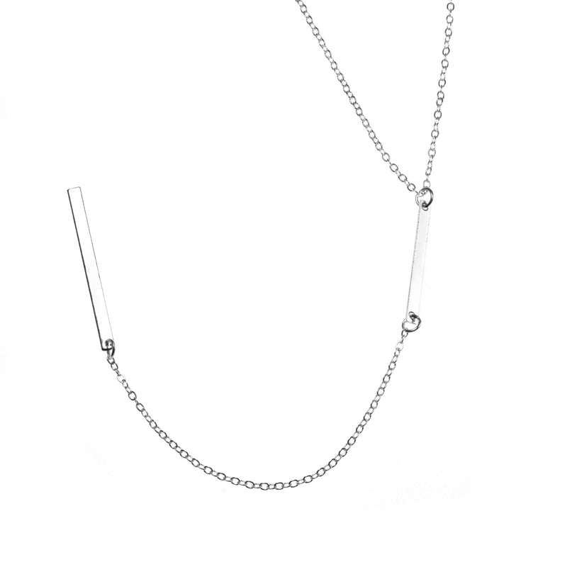 Elegant Long Dangle Drop Bar Solid White Gold Necklace By Jewelry Lane