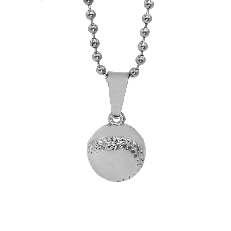 Beautiful Sporty Dangling BaseBall Design Solid White Gold Pendant By Jewelry Lane