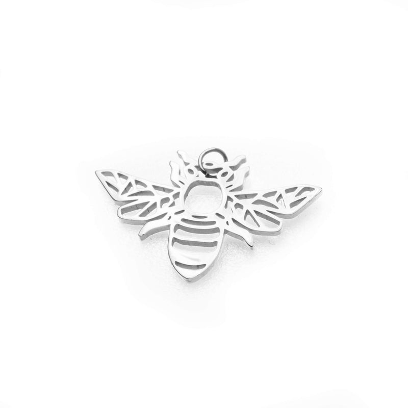 Beautiful Charming Bee Solid White Gold Pendant By Jewelry Lane