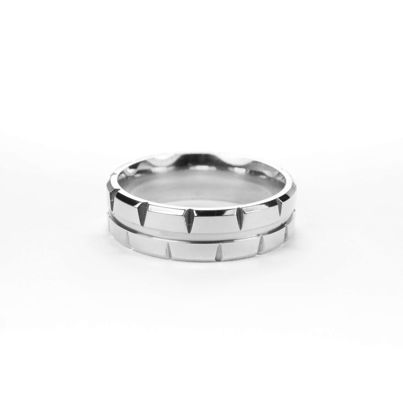 Elegant Single Line Brick Cut Solid White Gold Band Ring By Jewelry Lane