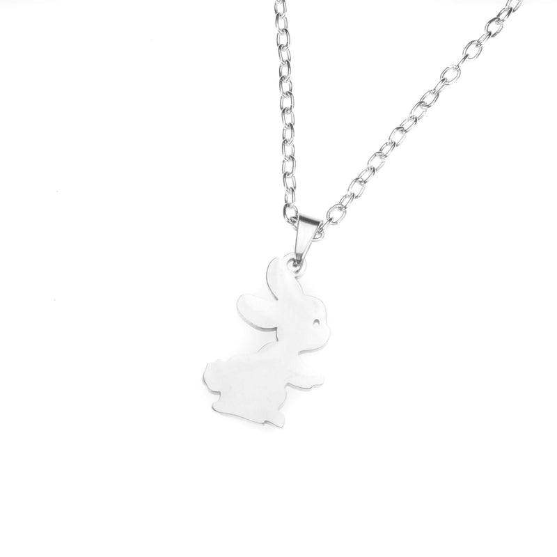 Beautiful Charming Cute Bunny Solid White Gold Necklace By Jewelry Lane