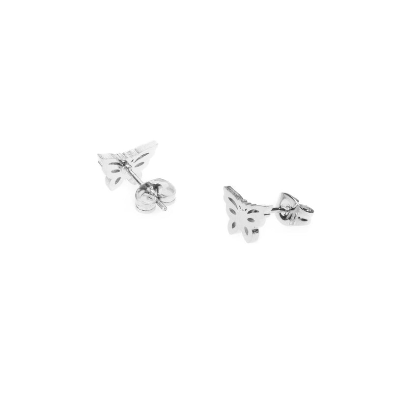 Elegant Simple Butterfly Solid White Gold Earrings By Jewelry Lane