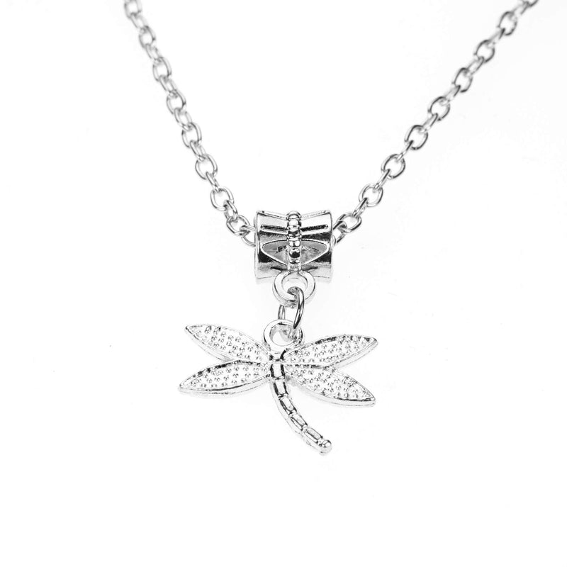 Beautiful Unique Dangling Dragonfly Design Solid White Gold Pendant By Jewelry Lane