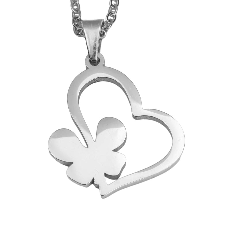 Exquisite Irish Love Butterfly Tilted Heart Solid White Gold Pendant By Jewelry Lane
