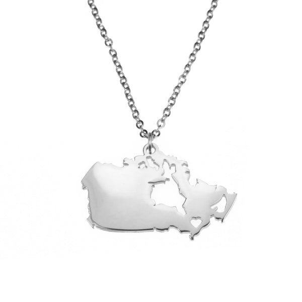 Beautiful Modern Canada Map Design Solid White Gold Pendant By Jewelry Lane