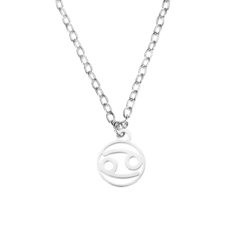 Charming Zodiac Cancer Minimalist Solid White Gold Pendant By Jewelry Lane