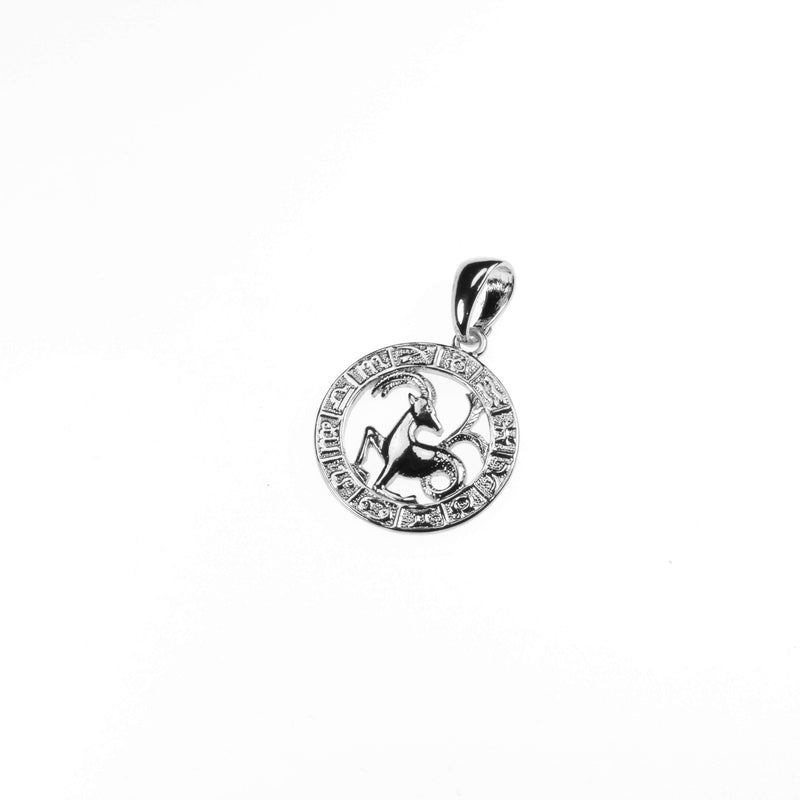 Beautiful Zodiac Capricorn Solid White Gold Pendant By Jewelry Lane