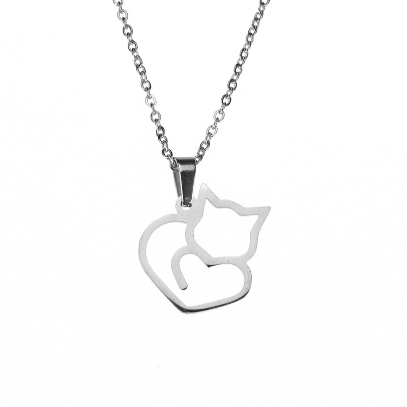 Beautiful Unique Cat Love Heart Design Solid White Gold Pendant By Jewelry Lane