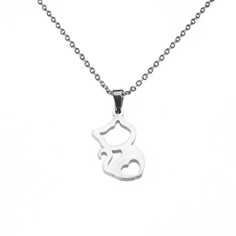 Beautiful Charming Kitty Love Solid White Gold Necklace By Jewelry Lane